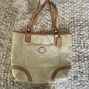Coach Patent Leather Tote Bag Ivory